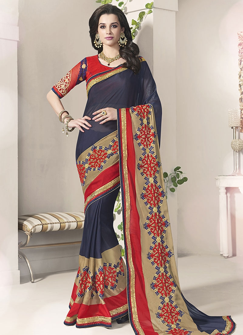 Magnetize Embroidery Work Navy Blue Color Party Wear Saree