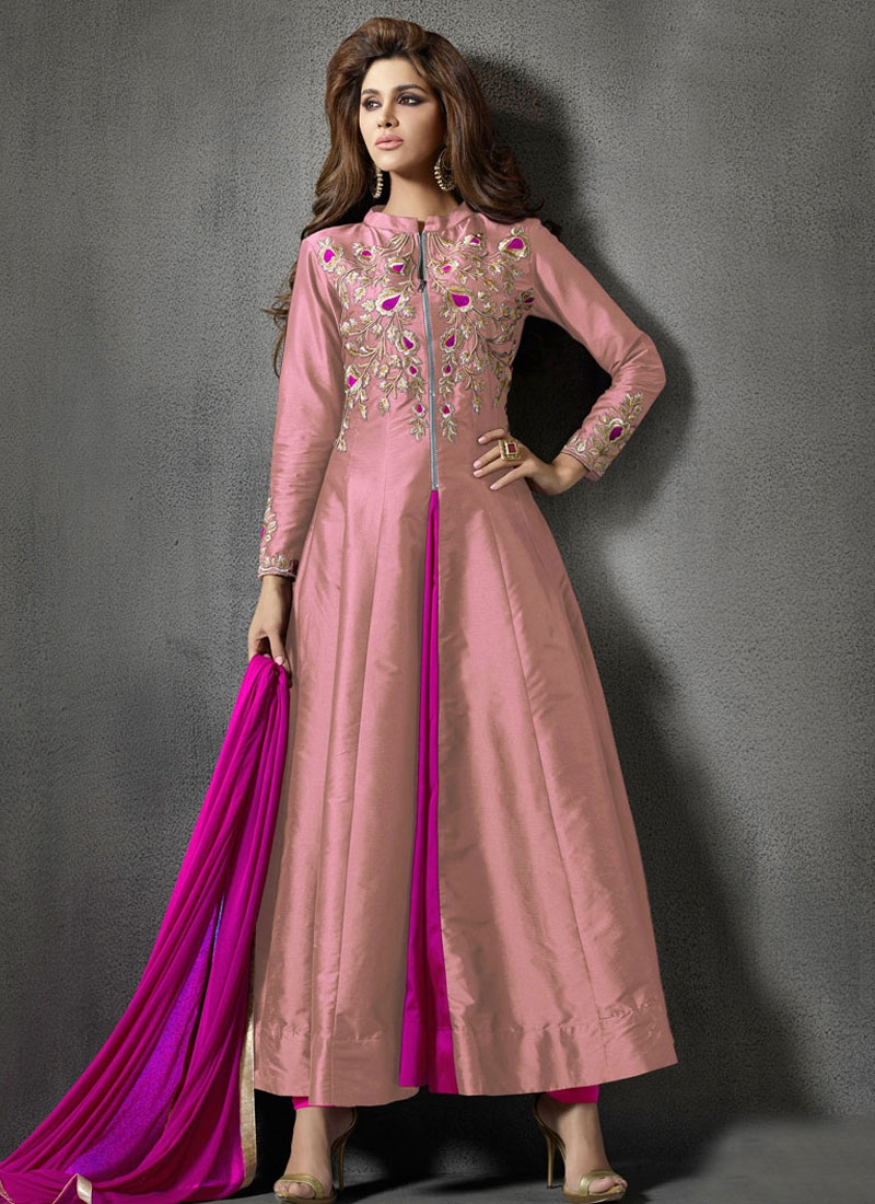 Magnetize Embroidery Work Silk Ankle Length Designer Suit