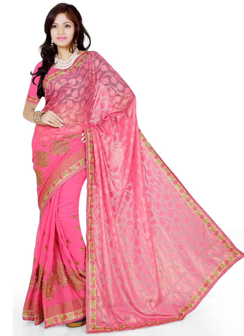 Magnetize Faux Georgette And Brasso Party Wear Saree