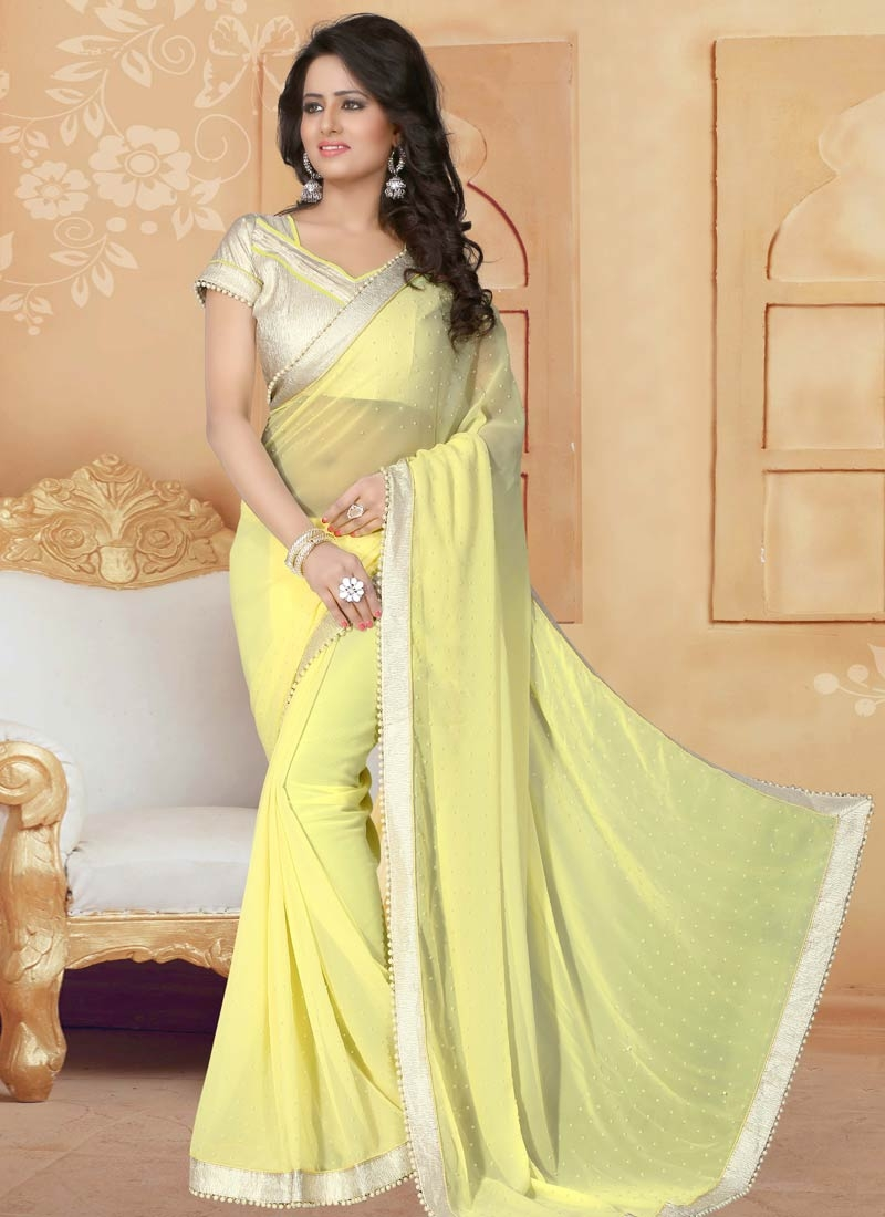 Magnetize Faux Georgette Lace Work Party Wear Saree