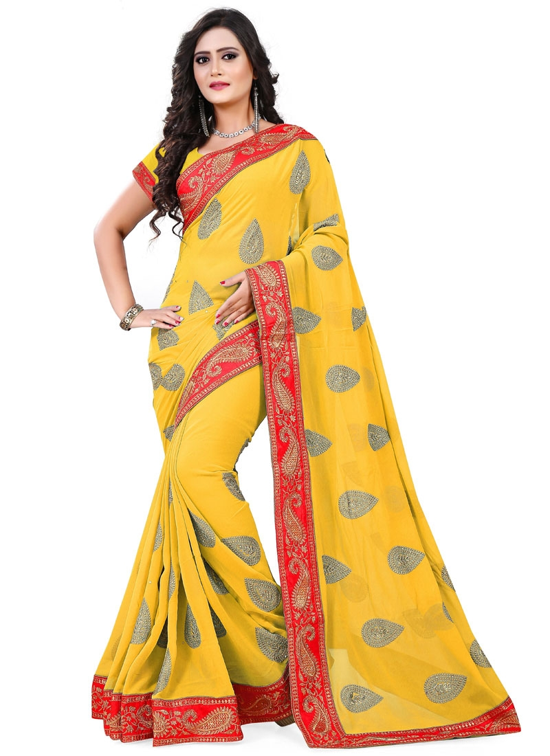 Magnetize Faux Georgette Stone Work Party Wear Saree