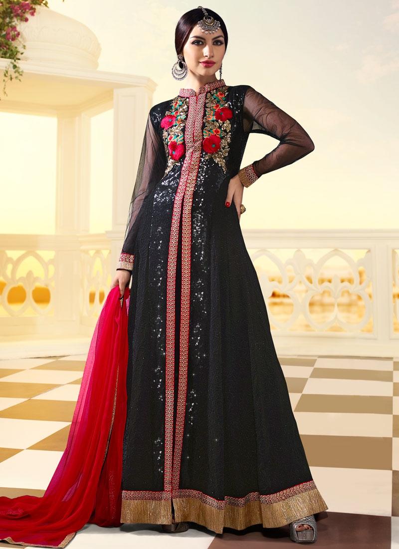 Magnetize Floral And Sequins Work Long Length Designer Suit