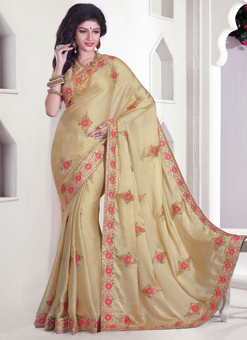 Magnetize Floral And Stone Work Designer Saree
