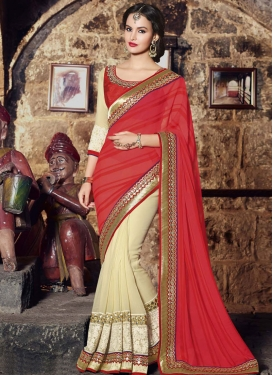 Magnetize Jaal And Mirror Work Party Wear Saree