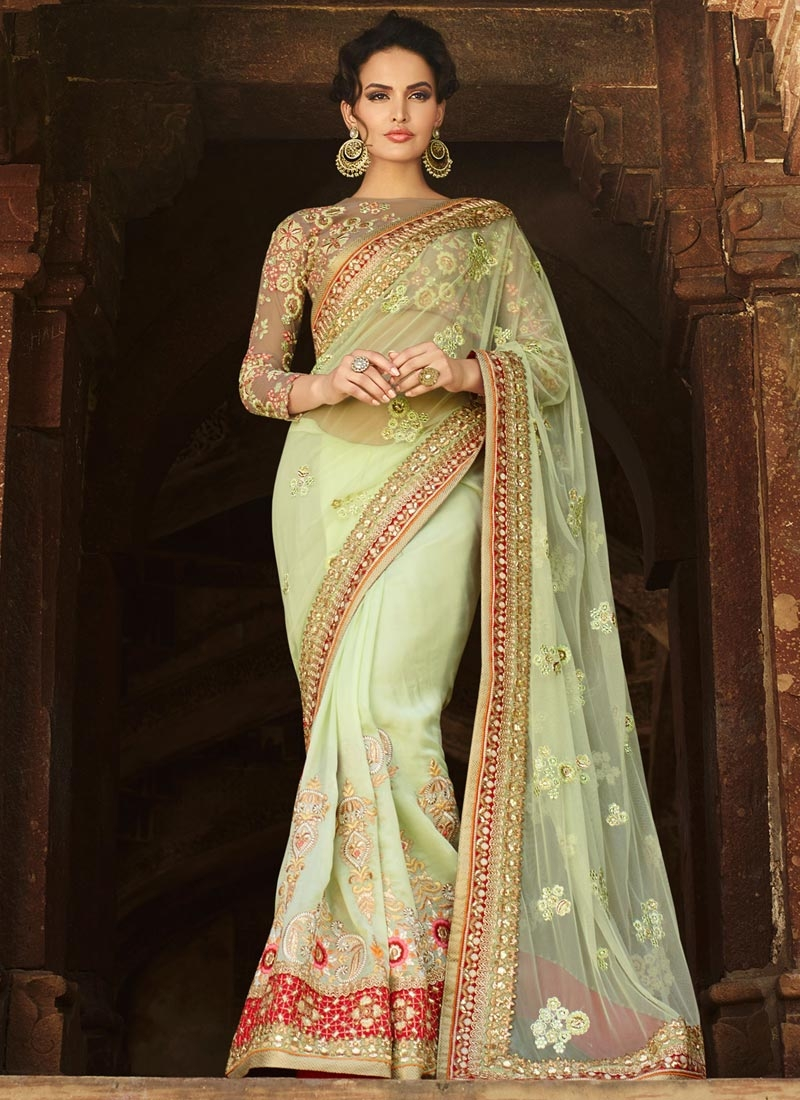 Magnetize Lace And Booti Work Wedding Saree
