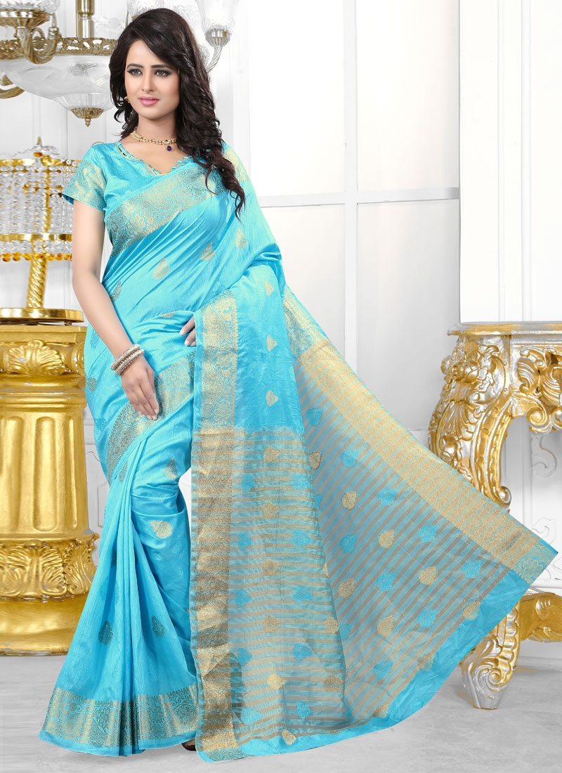 Magnetize Light Blue Color Party Wear Saree