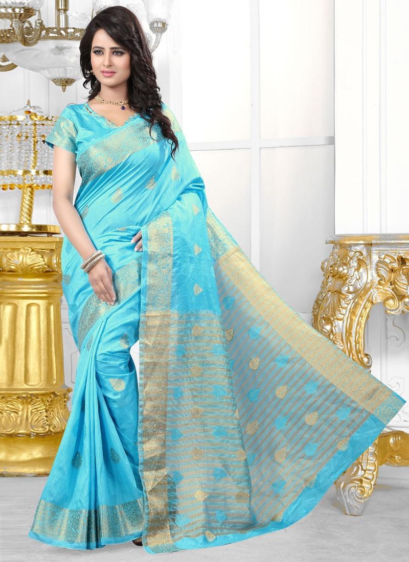 Magnetize Light Blue Color Party Wear Saree