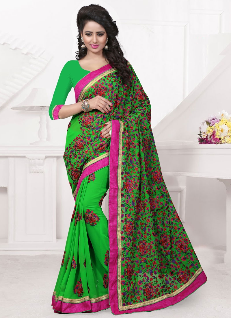 Magnetize Mint Green Color Resham Work Wedding Saree