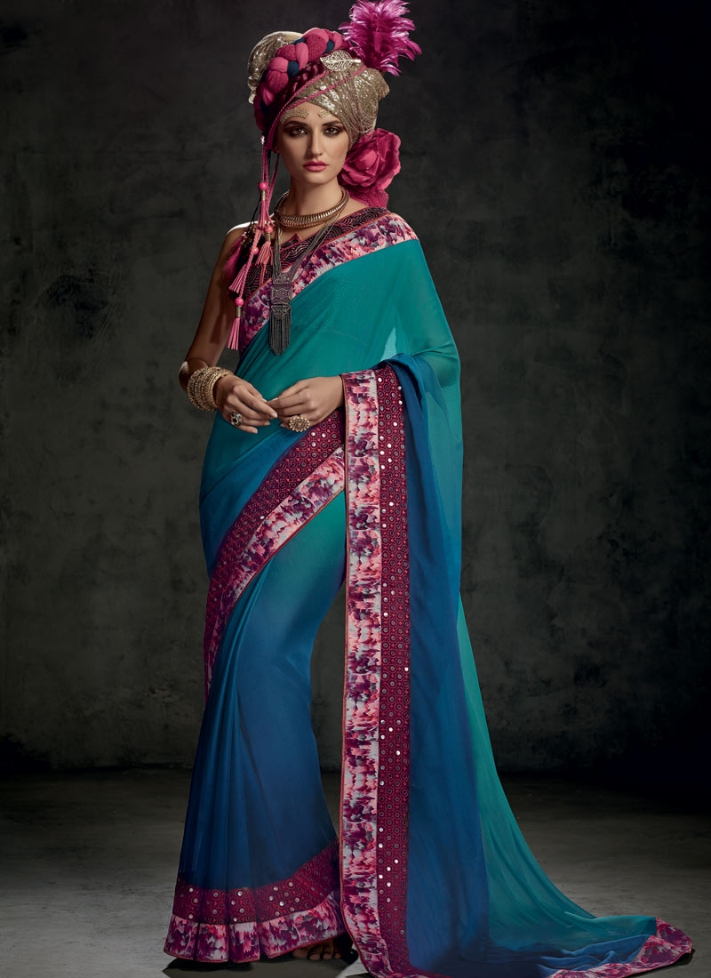 Magnetize Mirror And Lace Work Party Wear Saree