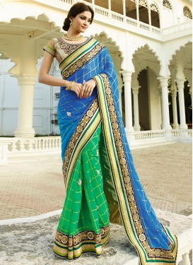 Magnetize Mirror And Resham Work Half N Half Designer Saree