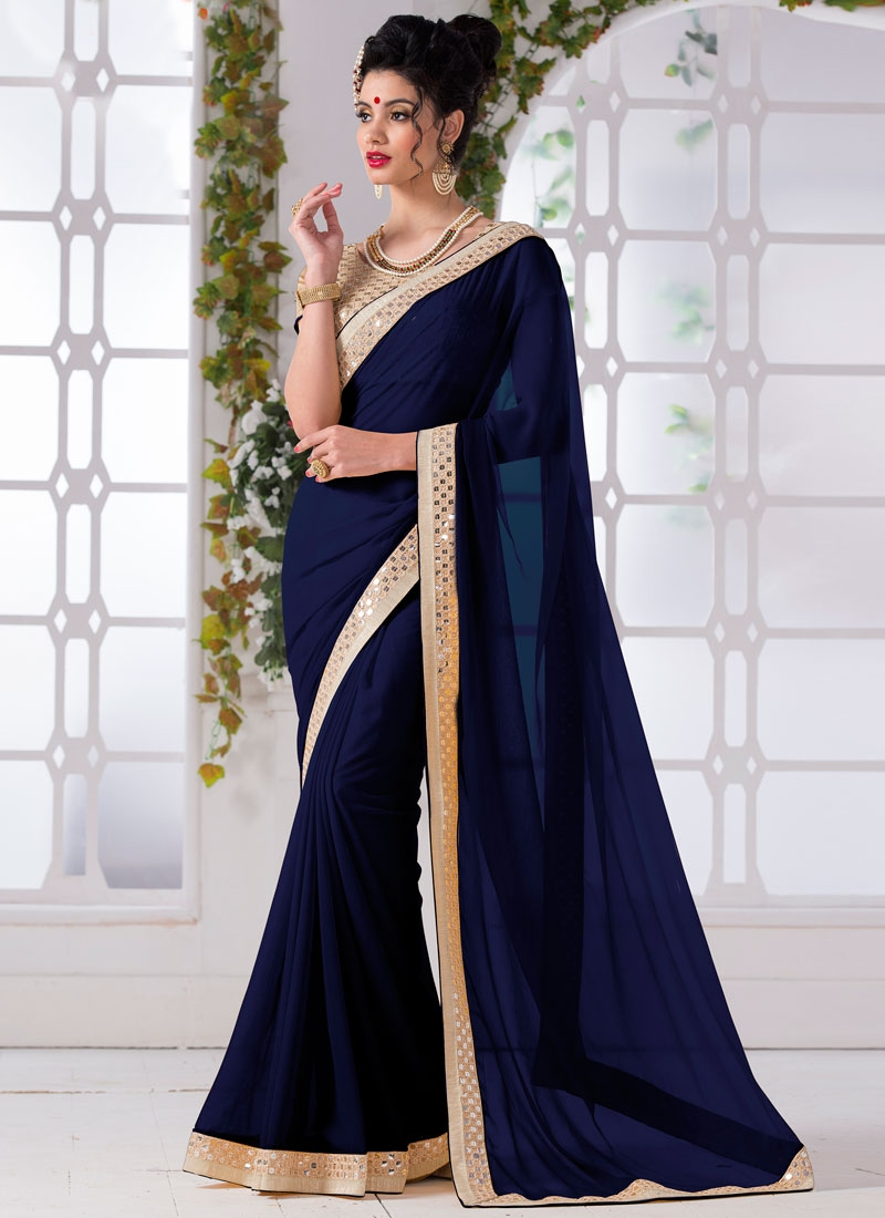 Magnetize Navy Blue Color Lace Work Casual Saree