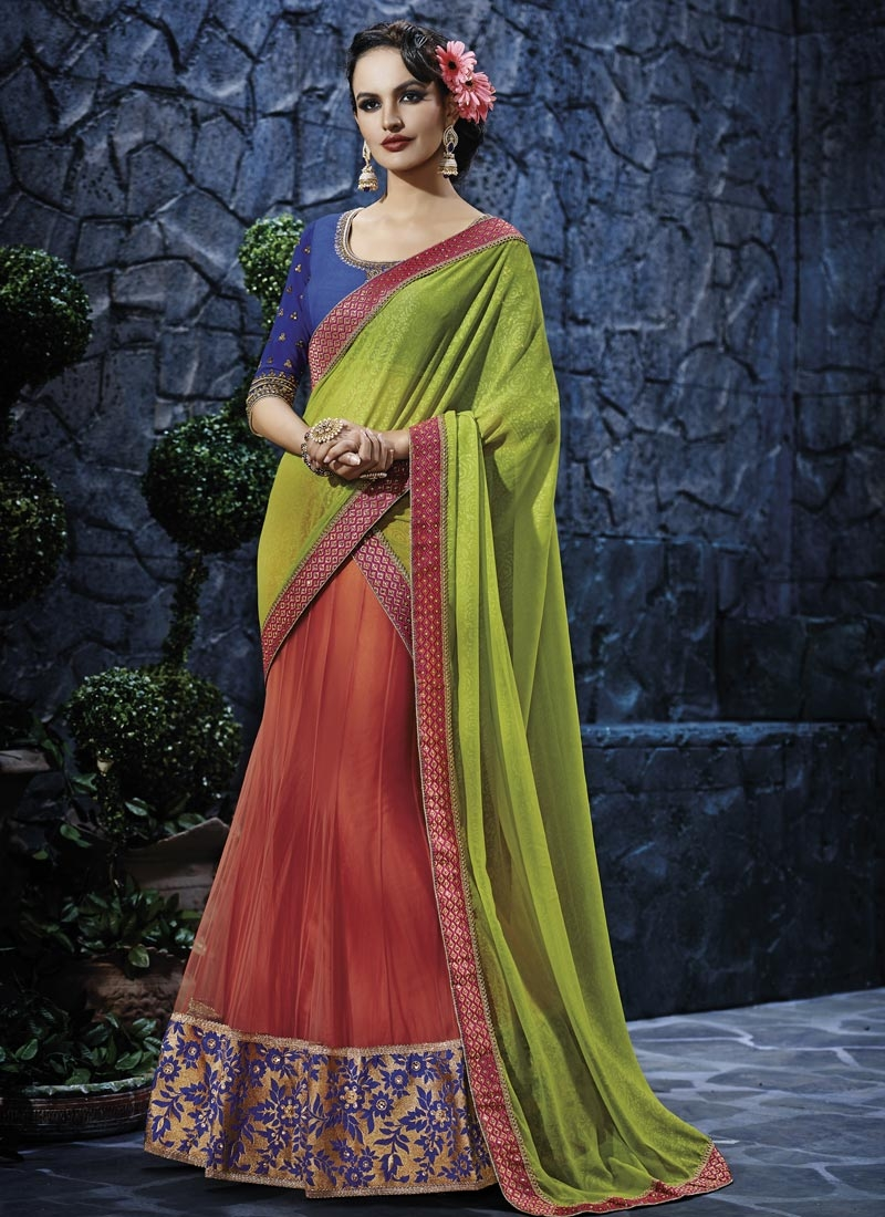 Magnetize Patch Border Work Lehenga Saree
