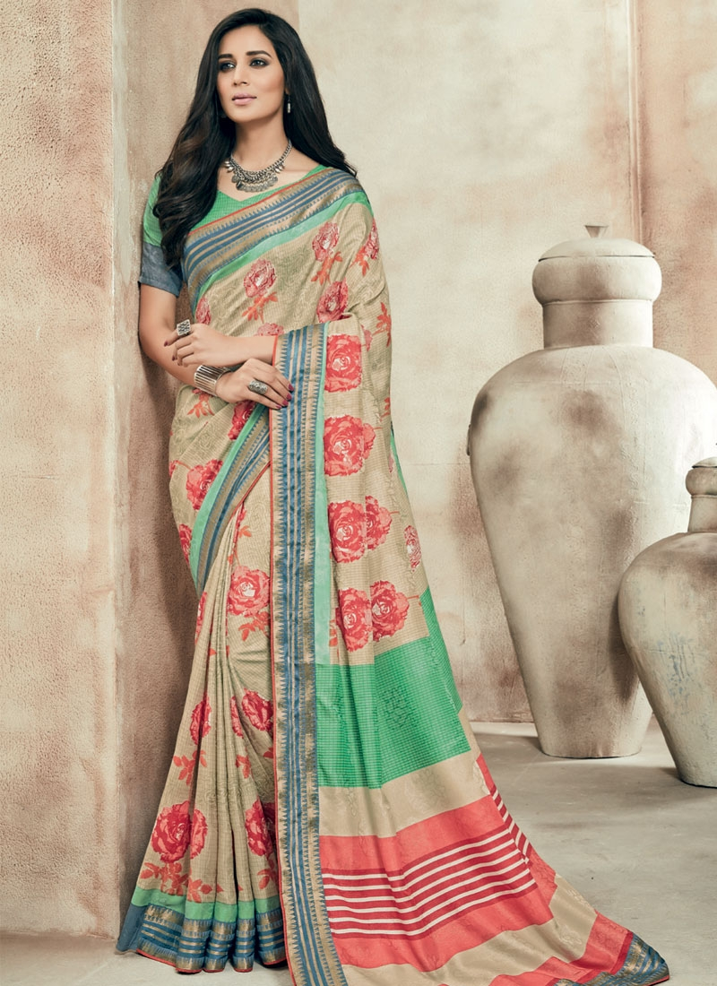 Magnetize Printed Beige Color Party Wear Saree