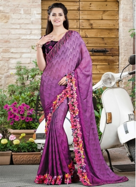Magnetize Purple Color Lace Work Party Wear Saree