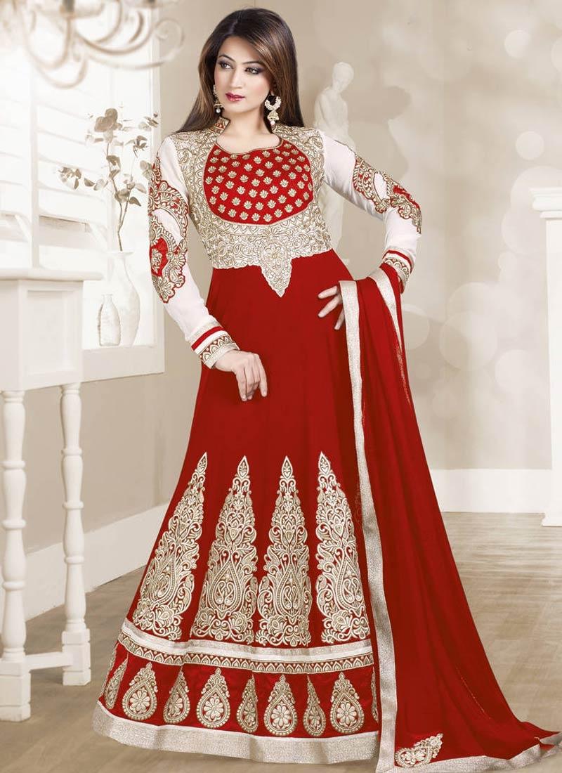 Magnetize Red Color Faux Georgette Floor Length Anarkali Suit