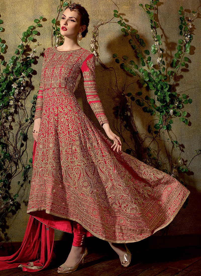 Magnetize Red Color Stone Work Pant Style Wedding Salwar Suit