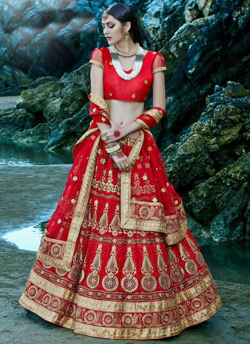 Magnetize Resham And Stone Work Net Bridal Lehenga Choli