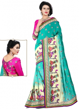 Magnetize Silk Lace Work Turquoise Color Designer Saree