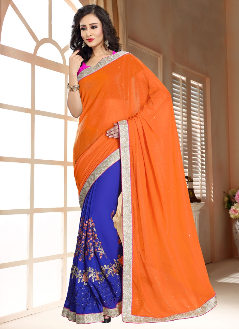 Magnetize Stone Work Coral Color Half N Half Party Wear Saree