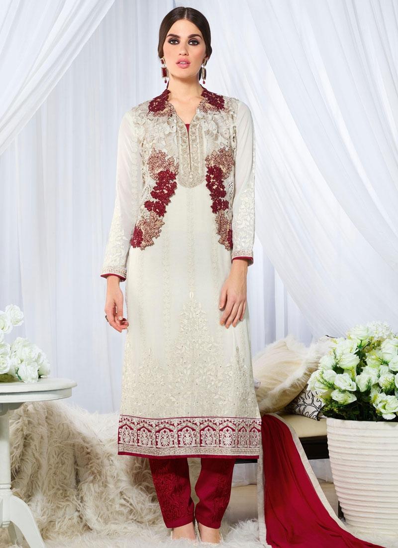 Magnetize White Color Resham Work Designer Suit