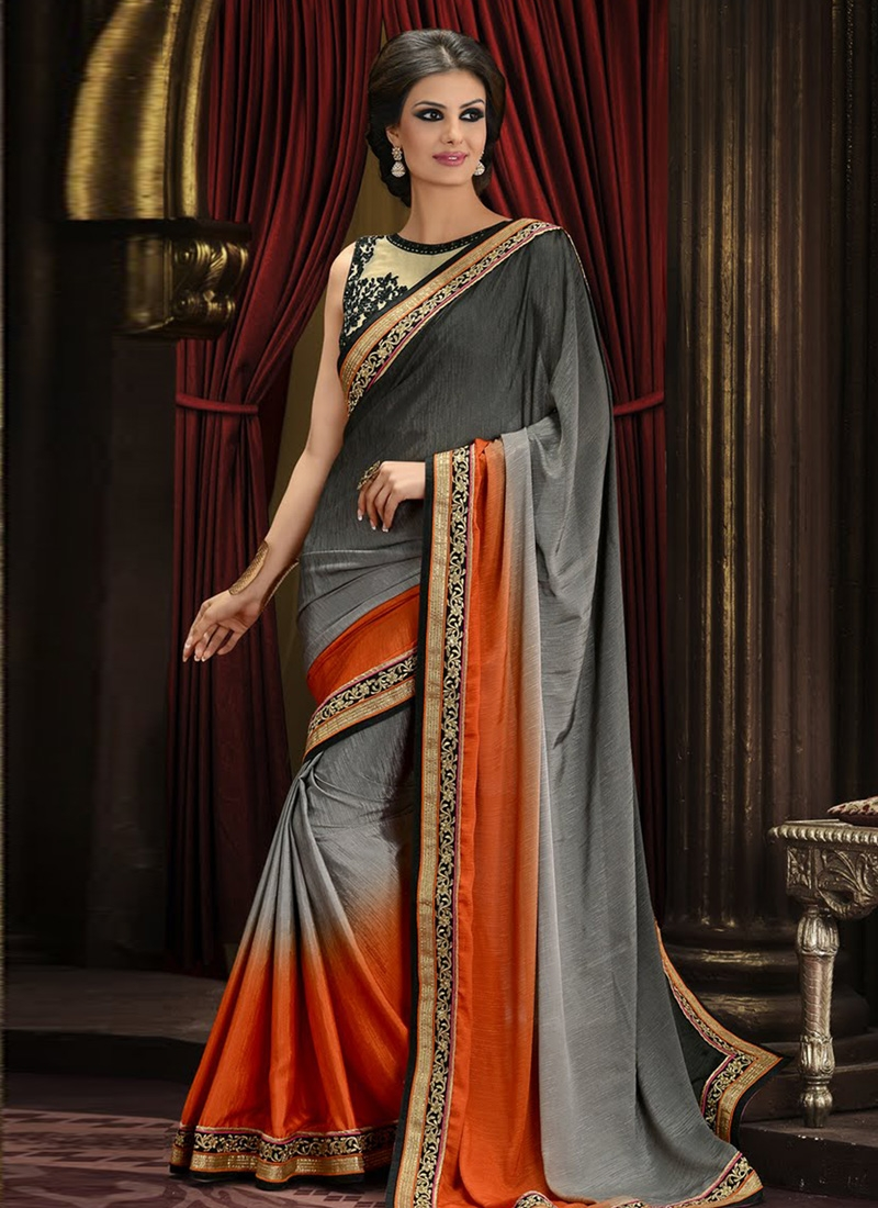 Magnificent Art Silk Lace Work Party Wear Saree