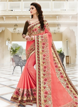 Magnificent  Beige and Peach Fancy Fabric Designer Contemporary Saree