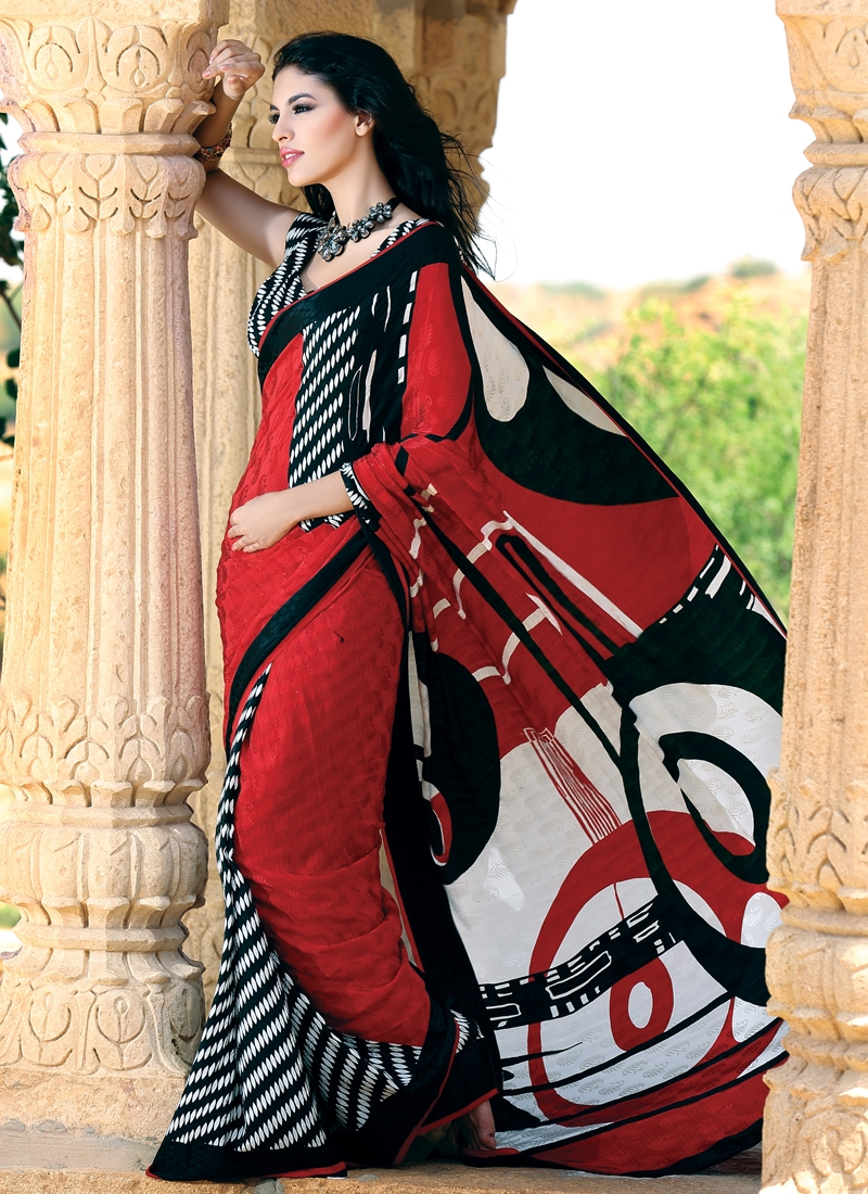 Magnificent Black And Red Party Wear Saree