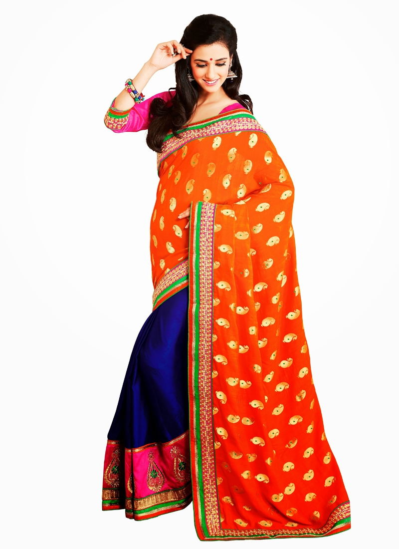 Magnificent Booti And Multi Work Half N Half Saree