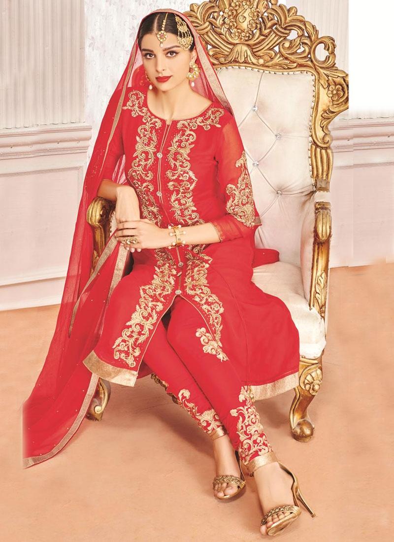Magnificent Booti Work Red Color Designer Salwar Suit