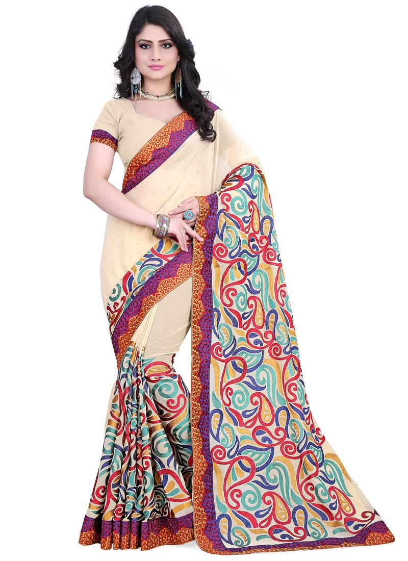 Magnificent Cream Color Stone Work Designer Saree