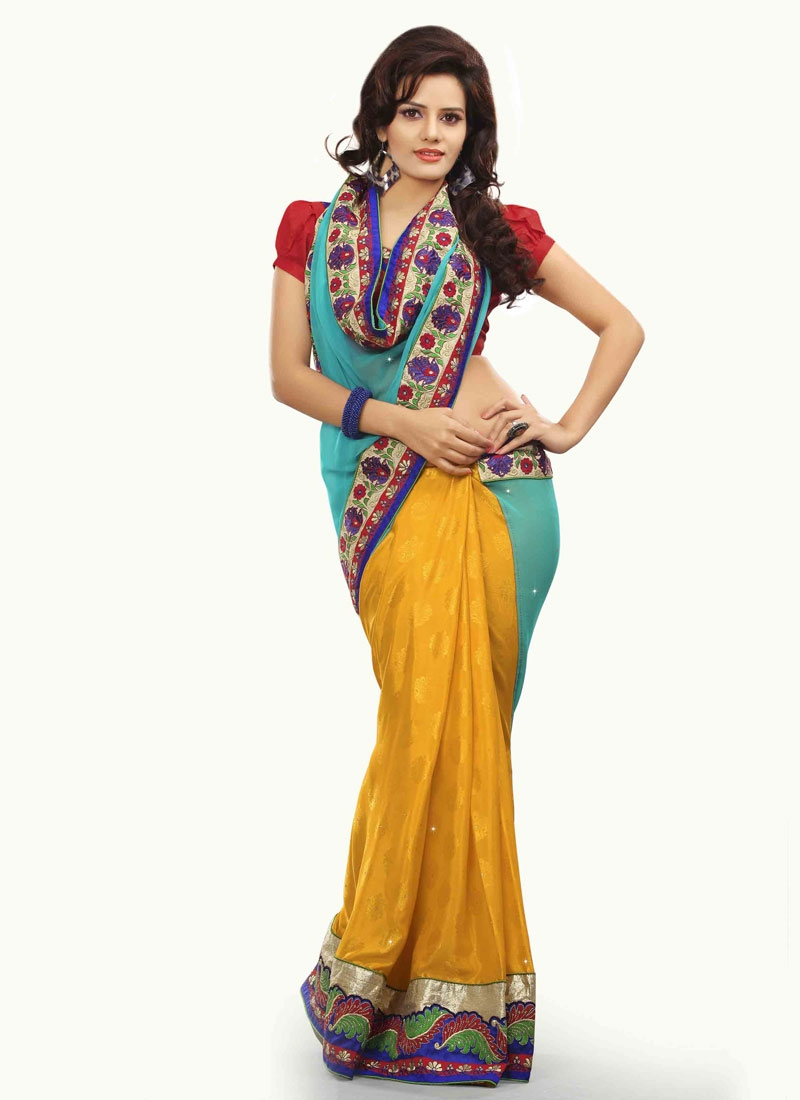 Magnificent Crepe Jacquard Half N Half Designer Saree