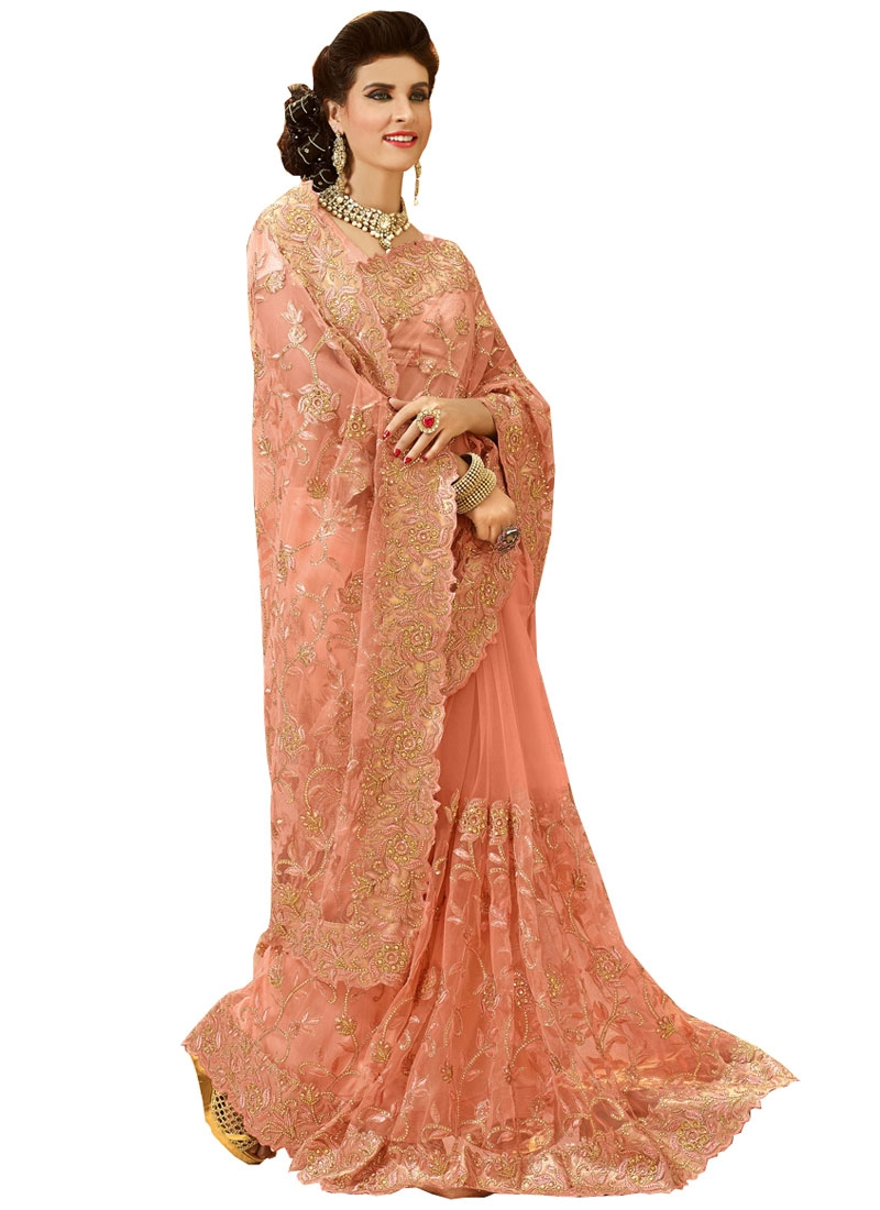 Magnificent Embroidery Work Peach Color Bridal Saree