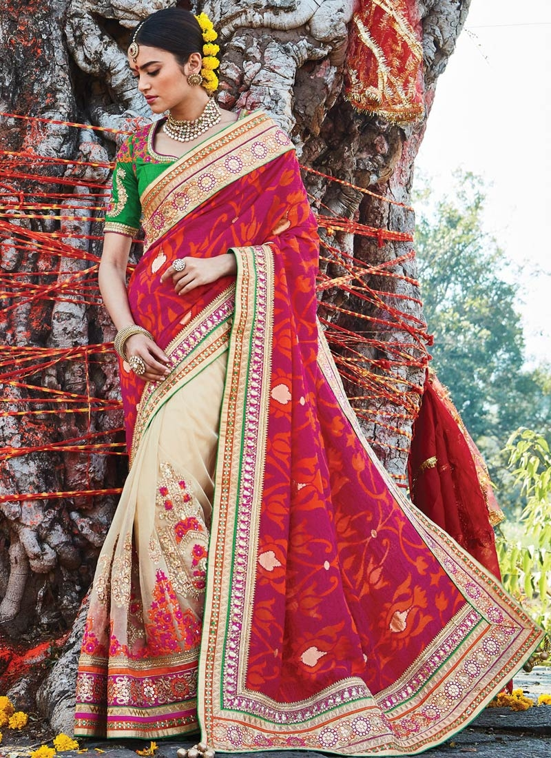 Magnificent Jacquard Silk Half N Half Bridal Saree