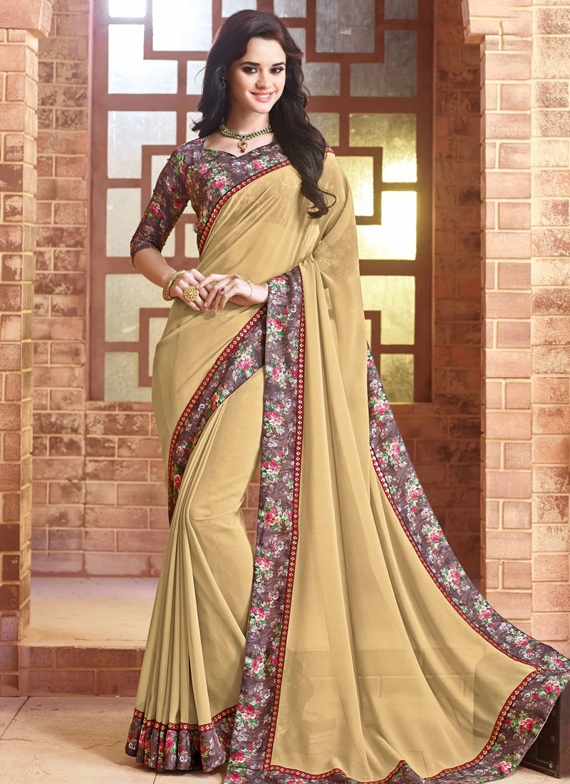 Magnificent Lace Work Faux Georgette Party Wear Saree