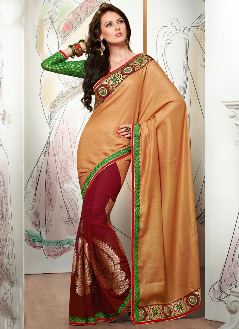 Magnificent Lace Work Jacquard Half N Half Party Wear Saree