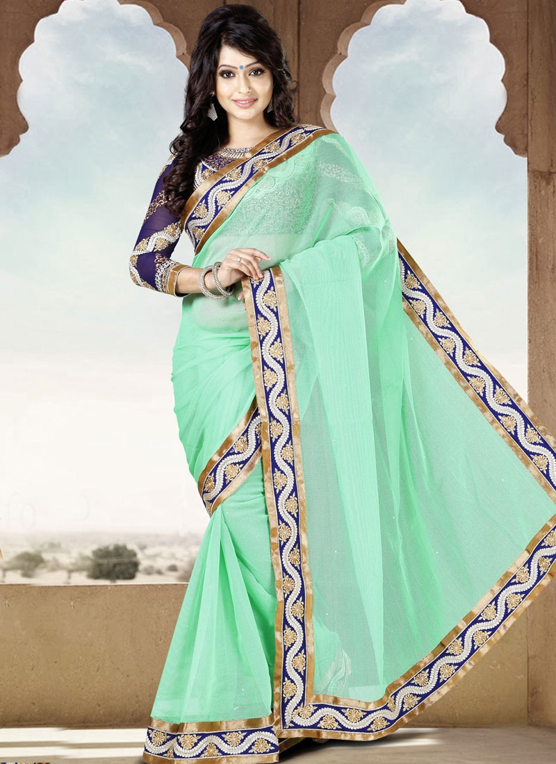 Magnificent Lace Work Party Wear Saree