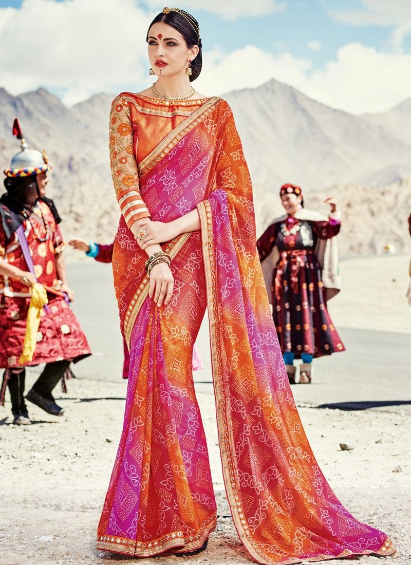 Magnificent Mirror Work Party Wear Saree
