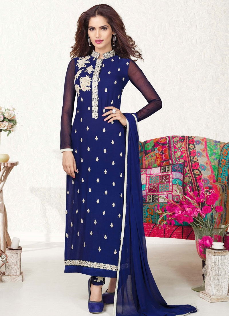 Magnificent Navy Blue Color Pakistani Salwar Suit