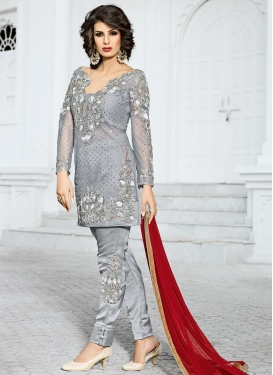 Magnificent Net Pant Style Designer Salwar Kameez For Ceremonial