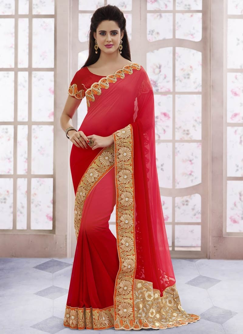 Magnificent Patch Border Work Designer Saree