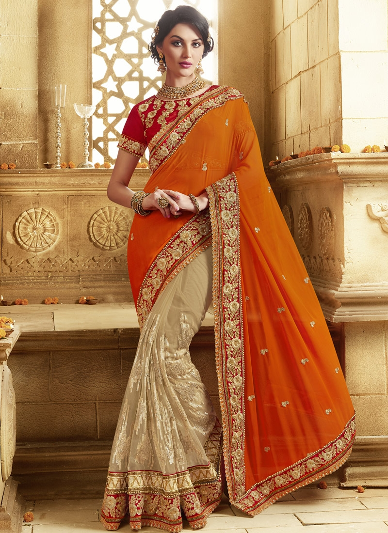 Magnificent Sequins Work Half N Half Wedding Saree