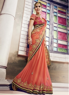 Maiden Beads Work Chiffon Satin Classic Saree For Party