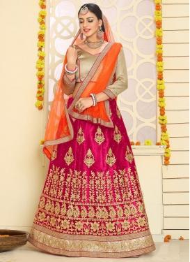 Maiden Fuchsia and Orange Net Trendy A Line Lehenga Choli For Ceremonial