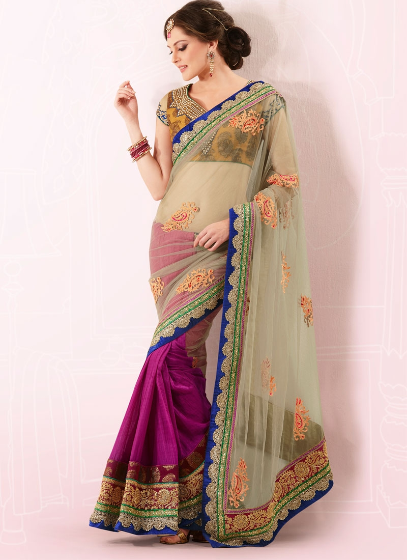 Majestic Beige And Magenta Crape Silk Net Saree