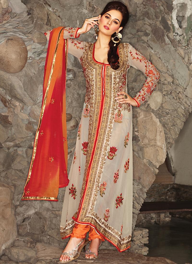Majestic Beige And Orange Salwar kameez