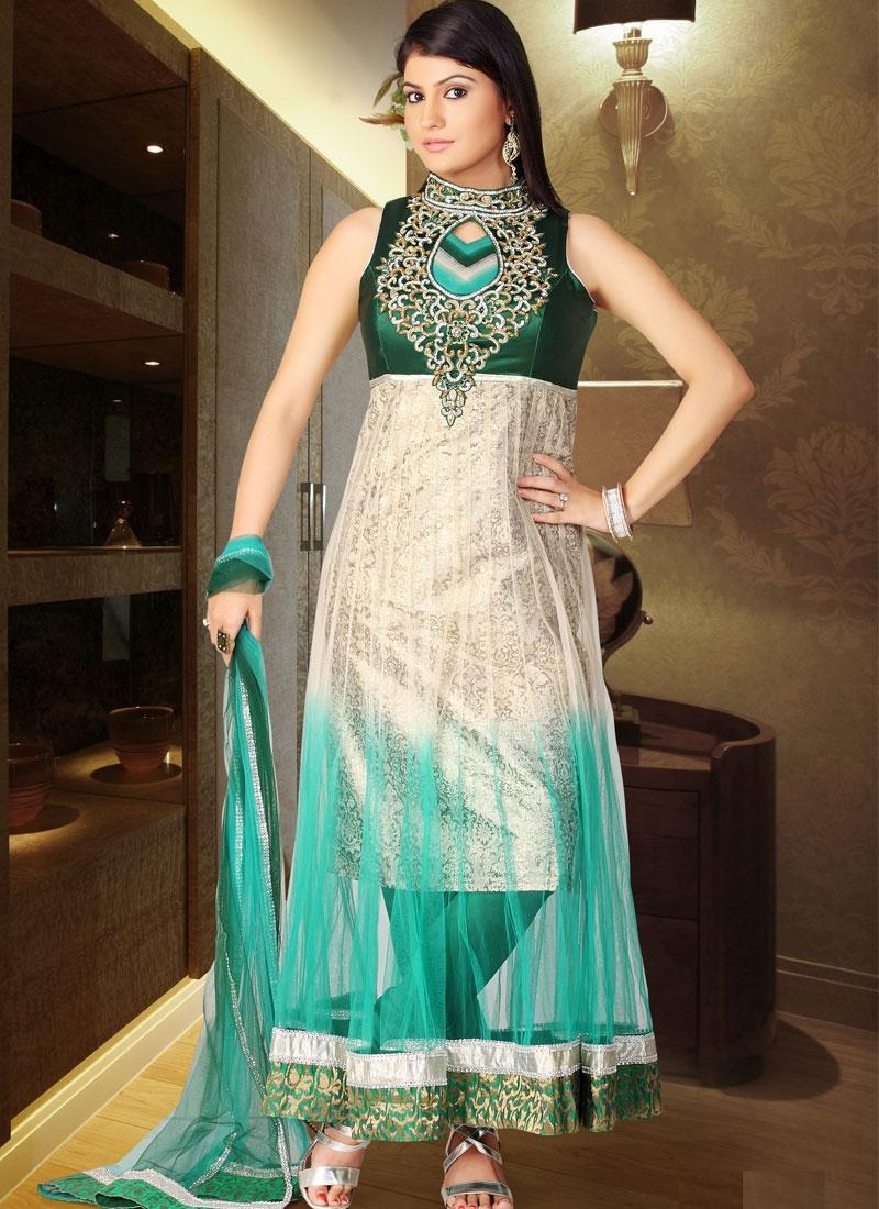 Majestic Beige And Turquoise Net Salwar Kameez