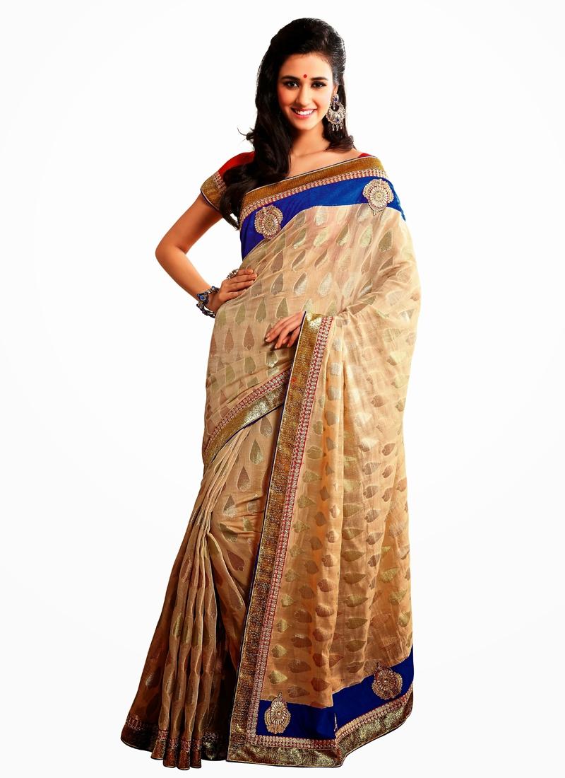 Majestic Beige Color Banarasi Silk Party Wear Saree