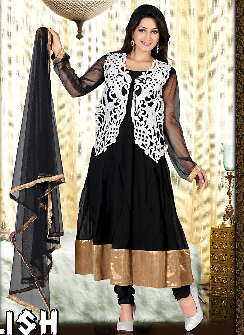 Majestic Black Embroidered Anarkali Suit
