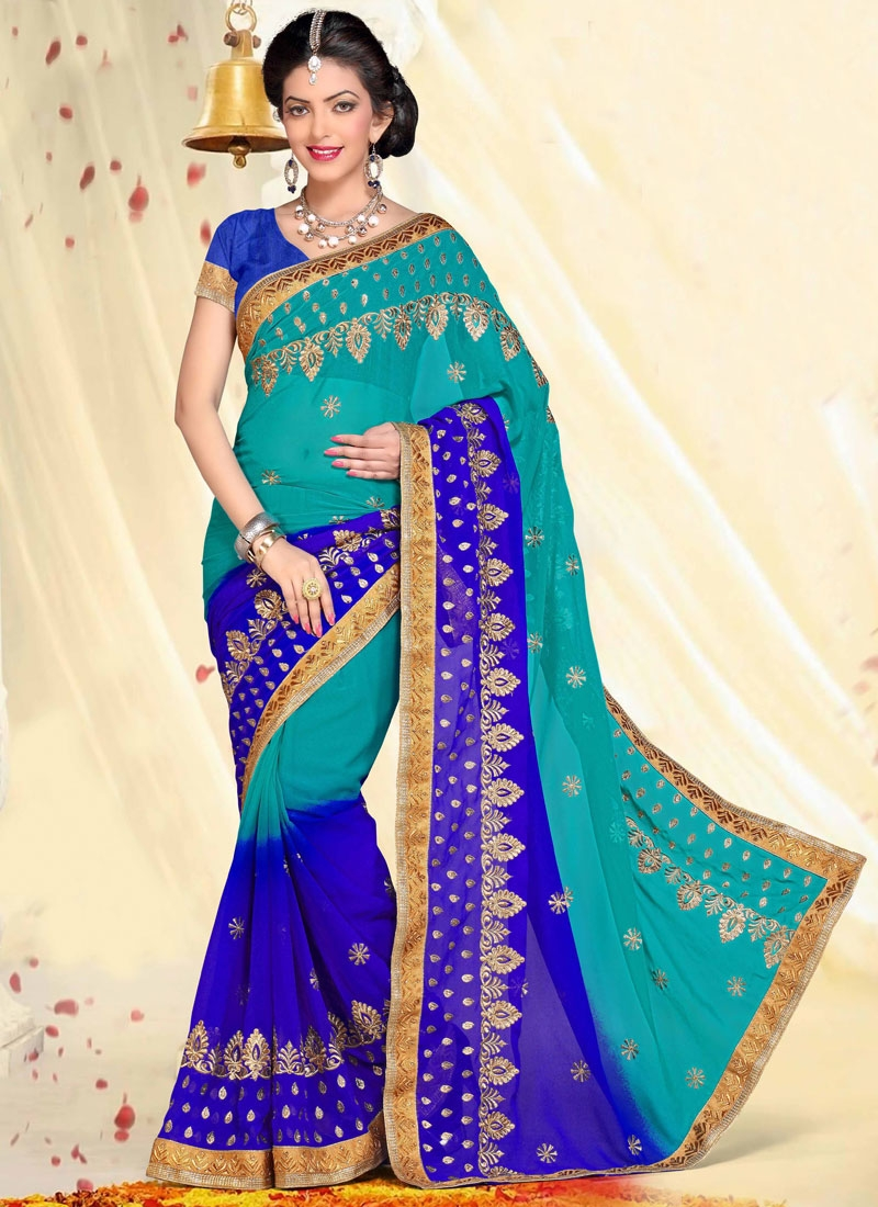 Majestic Blue And Aqua Blue Color Party Wear Saree
