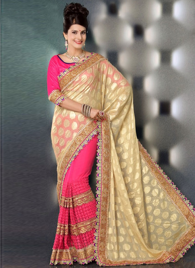 Majestic Cream And Hot Pink Color Half N Half Party Wear Saree